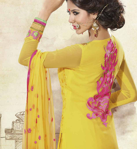 YELLOW PURE GEORGETTE DRESS MATERIAL RTUNI1531