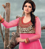 BHAGYASHREE IN PINK ANARKALI DRESS