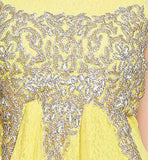 Yellow Indian women's evening wear net material wedding gowns evening gown India online