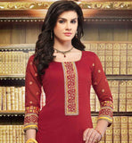 MAJESTIC MAROON INDIAN FORMAL DRESS WITH YELLOW SALWAR & DUPATTA