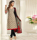 BEIGE CASUAL WEAR CHANDERI COTTON SALWAR KAMEEZ WITH BLACK DUPATTA VDANT7015