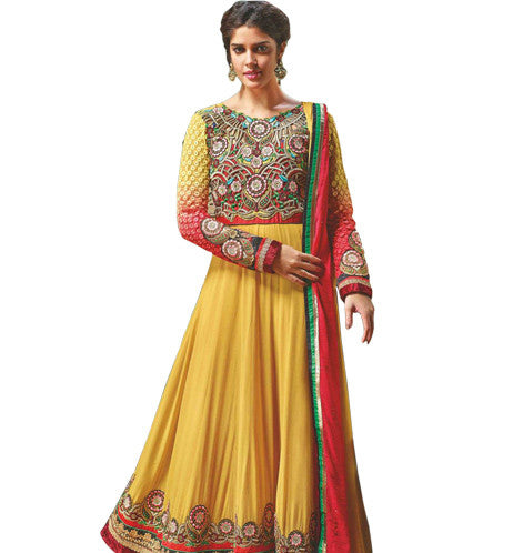 DESIGNER YELLOW ANARKALI DRESS