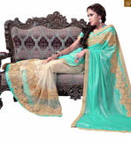 FROM STYLISH BAZAAR THRILLING MIX OF SKY BLUE AND CREAM IN EMBROIDERED SARI ACCOMPANIED WITH SKY BLUE BLOUSE RTMAG16
