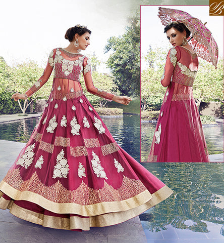 STYLISH BAZAAR ZOYA CRYSTAL BEAUTIFUL PINK COLORED DRESS WITH SPLENDID FLORAL EMBROIDERY WORK PFCR16001