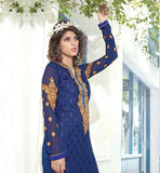 STRAIGHT CUT CHUDIDAR SALWAR KAMEEZ IN PAKISTANI STYLE  BLASTIC BLUE IN LATEST PAKISTANI PATTERN EMBROIDERED SALWAR KAMEEZ WITH CHIFFON DUPATTA
