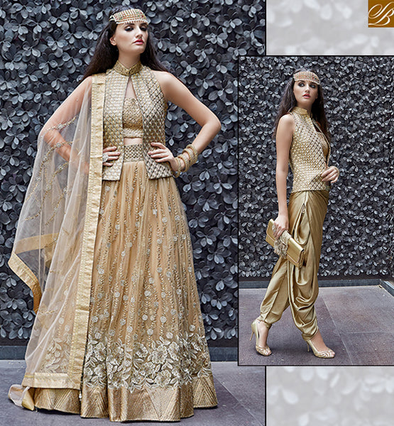 ZOYA CRYSTAL ULTIMATE GOLD & BEIGE COLORED DRESS WITH OUTSTANDING FLORAL WORK PFCR16003