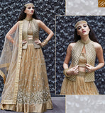 STYLISH BAZAAR ZOYA CRYSTAL ULTIMATE GOLD & BEIGE COLORED DRESS WITH OUTSTANDING FLORAL WORK PFCR16003