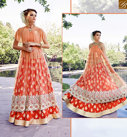 A STYLISH BAZAAR PRESENTATION ZOYA CRYSTAL STUNNING ORANGE COLORED DRESS WITH EYE CATCHING EMBROIDERY WORK PFCR16004