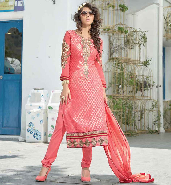 BEAUTIFUL EMBROIDERY LONG SLEEVE SALWAR KAMEEZ  RED SALWAR KAMEEZ TO LOOK STYLISH IN CHUDIDAR SALWAR