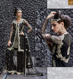 A STYLISH BAZAAR PRESENTATION ZOYA CRYSTAL ELEGANT BLACK COLORED DRESS WITH NICE LOOKING BORDER WORK PFCR16005