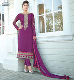STYLISH BAZAAR SPECIAL EDITION FOR CASUAL WEAR  STRAIGHT CUT DESIGNER PURPLE SALWAR KAMEEZ WITH DUPATTA