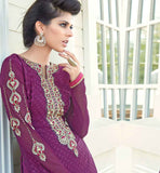 STRAIGHT CUT DESIGNER PURPLE SALWAR KAMEEZ WITH DUPATTA ROUND NECK E EMBROIDERY WORK ON KAMEEZ WITH THREAD WORK NECKLINE IN PAKISTANI STYLE KAMEEZ SUIT