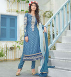 STRAIGHT CUT LONG STYLE LATEST PATTERN SALWAR SUIT  STYLISH BLUE COLOR IN BEAUTIFUL NECK EMBROIDERY 2015 IN INDIAN & PAKISTANI STYLE