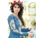 STYLISH BLUE COLOR IN BEAUTIFUL NECK EMBROIDERY 2015 IN INDIAN & PAKISTANI STYLE DESIGNER  CASUAL SALWAR KAMEEZ IN GEORGETTE LONG KAMEEZ IN  BLUE COLOR CHUDIDAR SALWAR  CHIFFON ODHNI