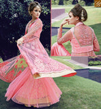 STYLISH BAZAAR ZOYA CRYSTAL IDEAL PINK COLORED DRESS WITH GLITTERING FLORAL EMBROIDERY WORK PFCR16006