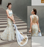 STYLISH BAZAAR ZOYA CRYSTAL RICH LOOKING WEDDING WEAR DRESS WITH WONDERFUL EMBROIDERY WORK PFCR16007