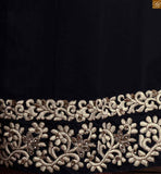 Designer salwaar kameez in straight cut with heavy embroidery black georgette three forth type floral embroidered sleeves salwar kameez. Off-white colour embroidered patch on dress with stone work Pic