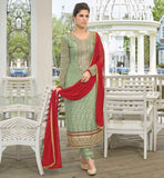 BEAUTIFUL EMBROIDERY ON ROUND NECK SALWAR KAMEEZ  LONG SLEEVE CASUAL WEAR SALWAR SUIT AND CHUDIDAR SALWAR
