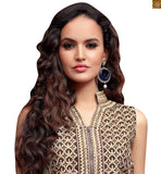 Zip chain at middle on dress. Sleeves less top looking new generation trend. Brown santoon embroidered bottom and Brown pure-chiffon dupatta with lace border photo