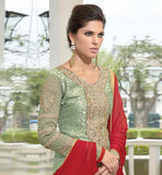 LONG SLEEVE CASUAL WEAR SALWAR SUIT AND CHUDIDAR SALWAR STRAIGHT CUT SALWAR KAMMEZ IN RED DUPATTA AND LIGHT GREEN COLOR DESIGNING ON SLEEVES AND ROUND DEEP NECK