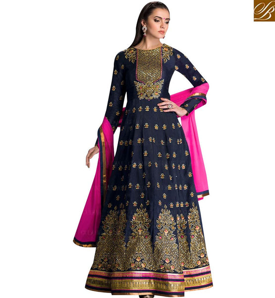 STYLISH BAZAAR LOVELY BLACK GEORGETTE DESIGNER ANARKALI SALWAR KAMEEZ WITH HEAVY RESHAM EMBROIDERY ON TOP GLZR1602