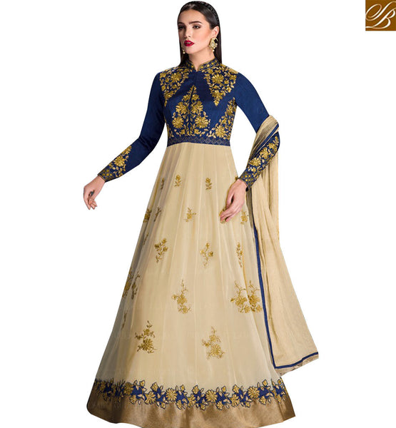 STYLISH BAZAAR GLAMAROUS BLUE AND CREAM GEORGETTE ANARKALI SALWAR KAMEEZ WITH WELL EMBROIDERED SLEEVES GLZR1603