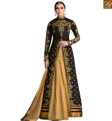 STYLISH BAZAAR WONDERFUL BLACK BANGLORI SILK DESIGNER ANARKALI SALWAR KAMEEZ WITH SLIT AND LEHENGA STYLE GLZR1604