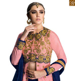A STYLISH BAZAAR PRESENTATION PEACH BANGLORI SILK HEAVY EMBROIDERED ANARKALI SALWAR KAMEEZ WITH LACE BORDER ON BOTTOM OF TOP GLZR1605
