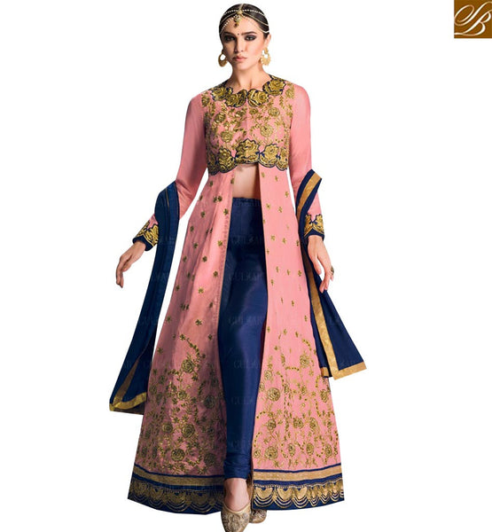 STYLISH BAZAAR PEACH BANGLORI SILK HEAVY EMBROIDERED ANARKALI SALWAR KAMEEZ WITH LACE BORDER ON BOTTOM OF TOP GLZR1605