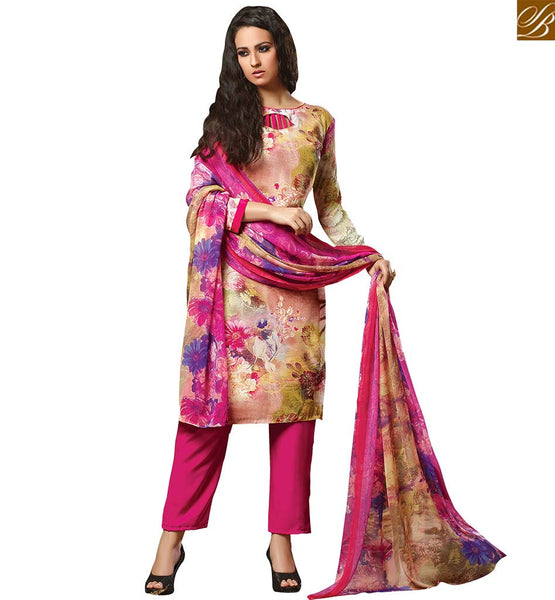 A STYLOISH BAZAAR PRESENTATION ADORABLE PAKISTANI STYLE FLORAL PRINTED SALWAAR SUIT DESIGN VDROO1606A