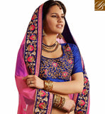 Blue & Pink  Net and Velvet  lehenga saree