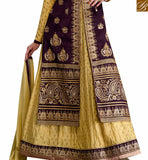 MUSTARD BANGLORI SILK ANARKALI SALWAR KAMEEZ WITH PURPLE JACKET STYLE GLZR1606