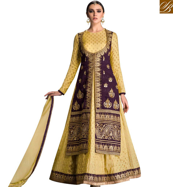 STYLISH BAZAAR MUSTARD BANGLORI SILK ANARKALI SALWAR KAMEEZ WITH PURPLE JACKET STYLE GLZR1606