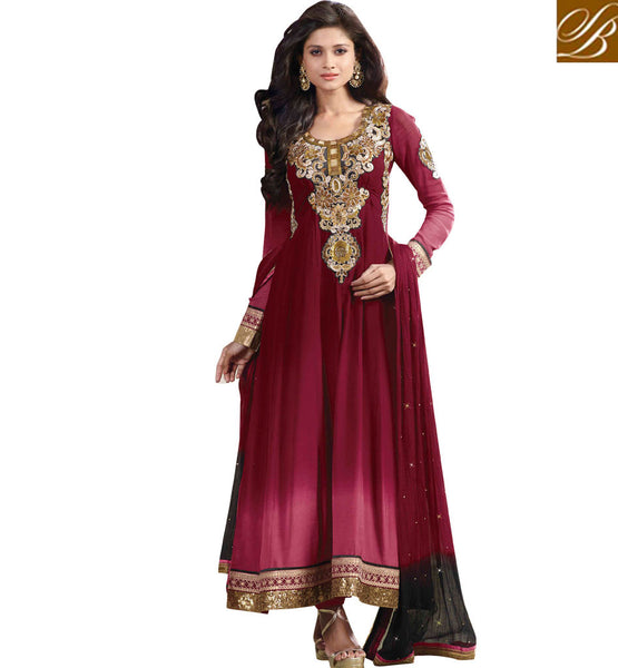 MAROON GEORGETTE SALWAR SUIT WITH STONEWORK SHOP ONLINE