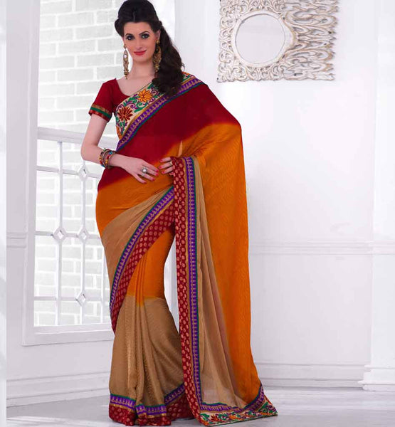 STUNNING MAROON BROWN & CREAM SARI RTCHA162