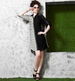 TRENDY KNEE LENGTH BLACK & OFF WHITE PRINTED & SOLID MIX KURTI