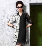 STYLISH KNEE LENGTH BLACK & OFF WHITE PRINTED & SOLID MIX KURTI