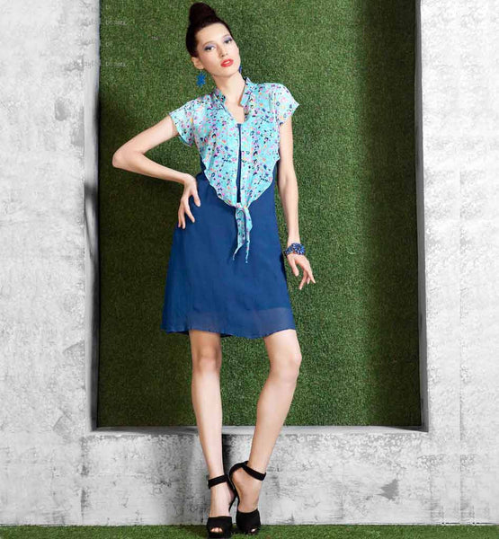 Stylish Blue Knee Height Kurti