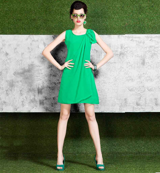 HOTTEST STYLE FASHIONISTA GREEN LINTO GEORGETTE MINI TUNIC TOP