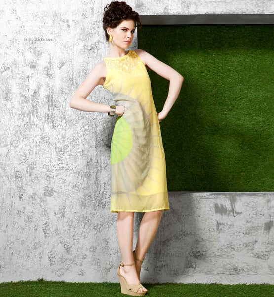 STYLISH BAZAAR LATEST FASHION YELLOW KNEE-LENGTH PRINTED KURTI