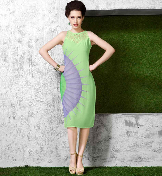 LIGHT GREEN KNEE LENGTH TUNIC TOP FOR TODAY'S FASHION LOVING LADIES