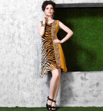 ASYMMETRICAL PATTERN KNEE HEIGHT COOL TIGER PRINT GEORGETTE KURTI