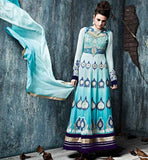 LATEST DESIGNER EUROPEAN GOWN RAMA STYLE ANARKALI SALWAR SUIT WITH DUPATTA image