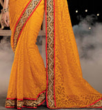 PARTY WEAR SAREES ONLINE SHOPPING IN INDIA WITH BLOUSE STYLISH BAZAAR ORANGE NET BRASSO