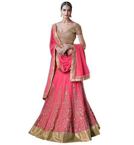 STYLISH BAZAAR SUPERBLY DESIGNED PINK LEHENGA SAREE NKGR5054