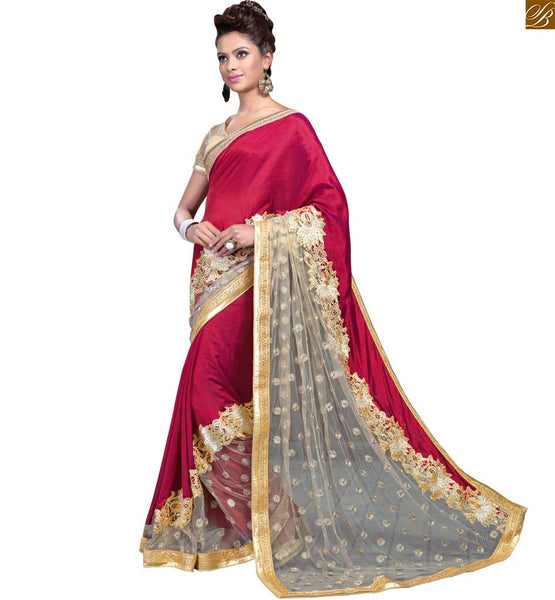 STYLISH BAZAAR PRESENTS  EXCITING CREAM AND MAROON SAREE WITH A CORRESPONDING CREAM BLOUSE RTMAG17