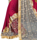 STYLISH BAZAAR INTRODUCES EXCITING CREAM AND MAROON SAREE WITH A CORRESPONDING CREAM BLOUSE RTMAG17