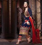 STYLISH BLUE SALWAR KAMEEZ FOR PARTY WEAR IN CHUDIDAR BLUE  LONG SALWAR KAMEEZ IN NEW LATEST MAROON COLOR