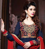 BLUE  LONG SALWAR KAMEEZ IN NEW LATEST MAROON COLOR STRAIGHT CUT WITH FULL SLEEVES ROUND NECK WITH DESIGNER PATTERNS IN SALWAR