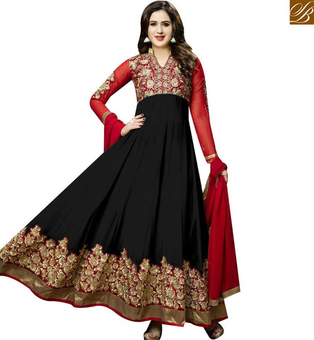 STYLISH BAZAAR DAZZLING BLACK GEORGETTE WELL EMBROIDERED ANARKALI SALWAR KAMEEZ WITH PATCH WORK ON SLEEVES SLTWI17001